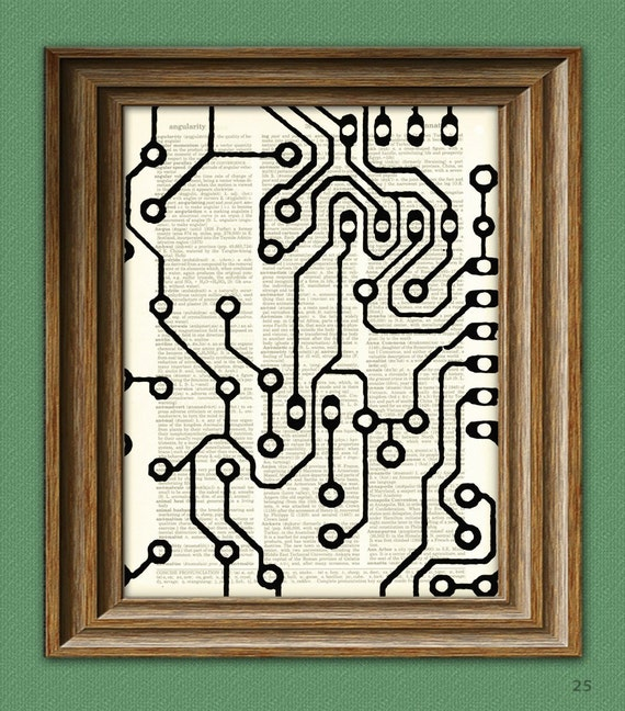 Geektastic PCB CIRCUIT BOARD beautifully upcycled vintage dictionary page book art print