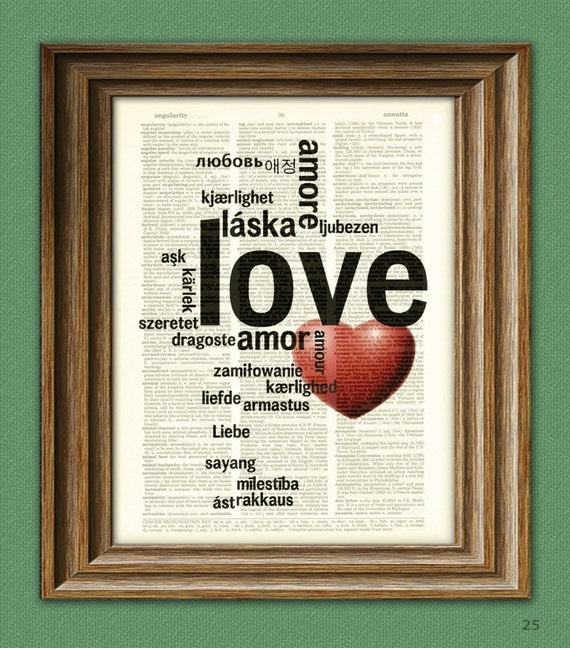 LOVE Amore in many languages WORD ART print over an upcycled vintage dictionary page book art