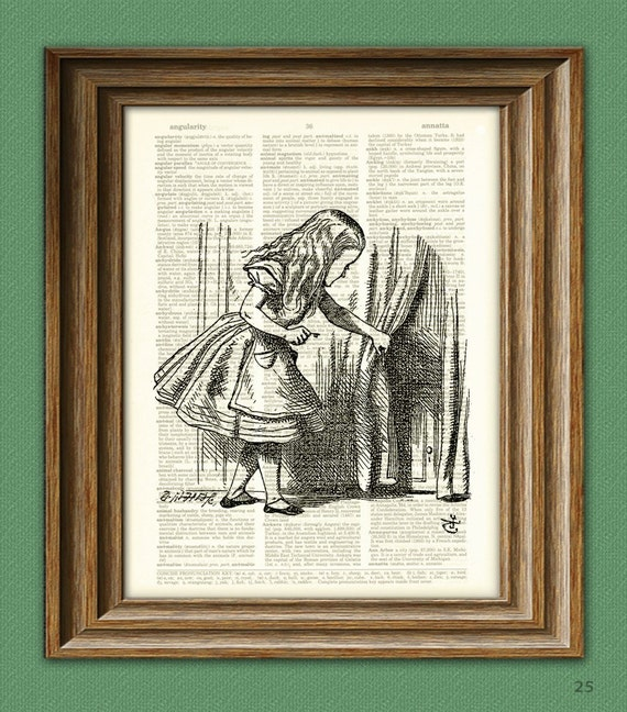 Through the Door Alice in Wonderland beautifully upcycled vintage dictionary page book art print