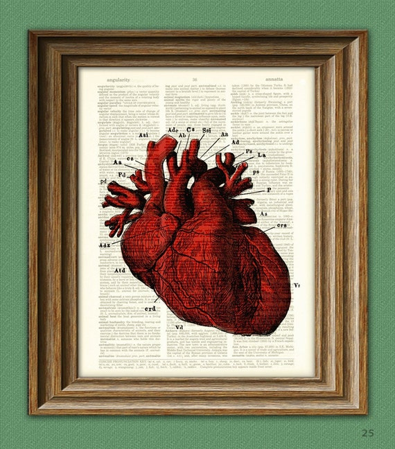 It's a RED HUMAN HEART diagram beautifully upcycled dictionary page book art print