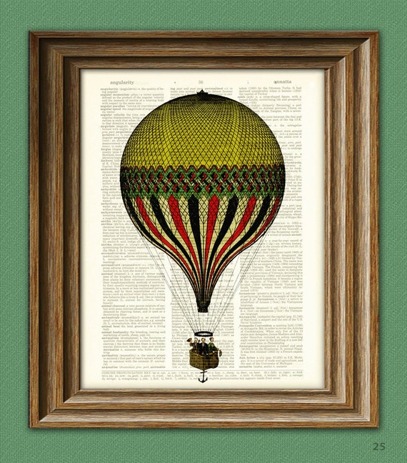 Print On Dictionary Page Cool Yellow and Red and Black Striped Hot Air Balloon voyage illustration dictionary page book altered art print