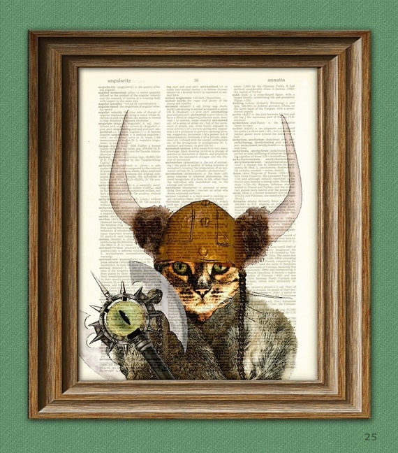 Catseye the Mauler VIKING CAT with battle axe, helmet and Nordic horns illustration beautifully upcycled dictionary page book art print