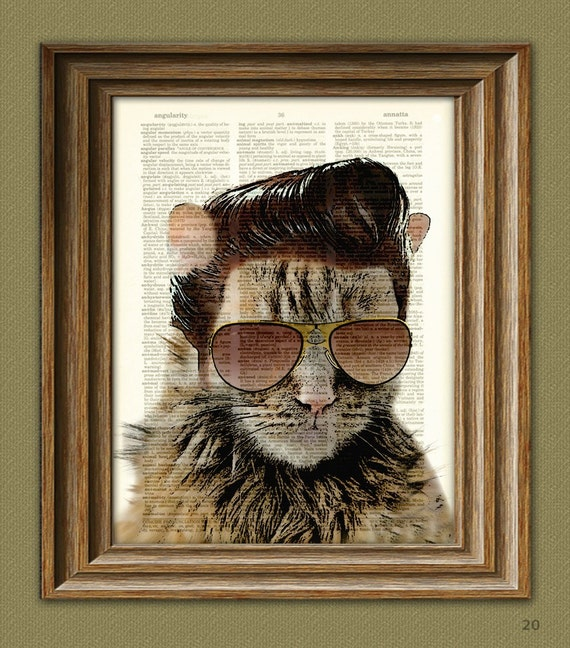 Cat Print Tennessee Tom ROCKABILLY Elvis CAT with pompadour and sideburns dictionary page book art