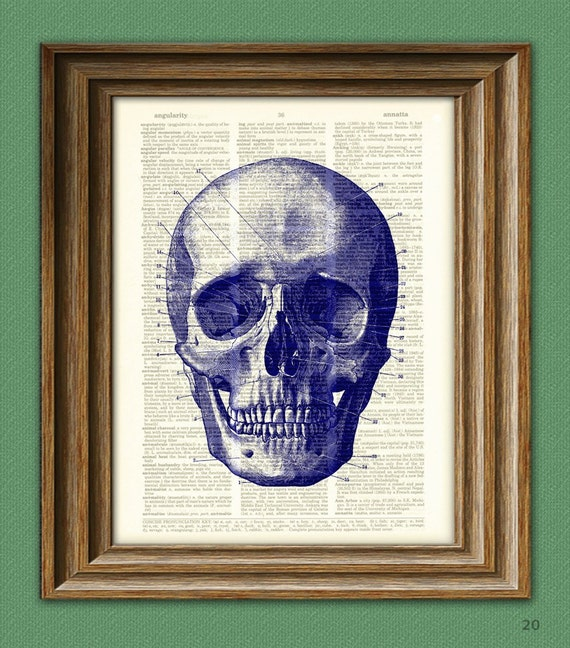 Diagram of a BLUE SKULL over an upcycled dictionary page book art print