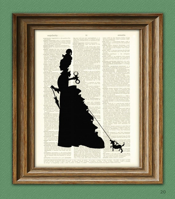Steam Punk Art Print Victorian Woman Automaton and her little Clockwork Dog, too silhouette illustration upcycled dictionary page book