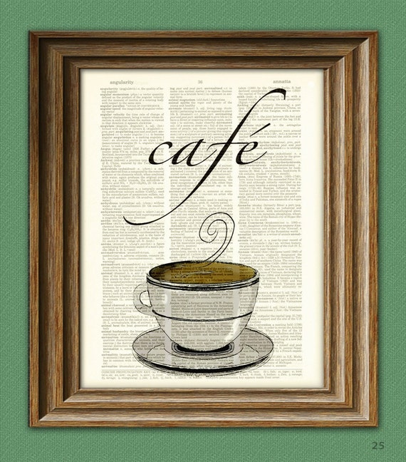 Café Coffee with coffee cup beautifully upcycled dictionary page book art print