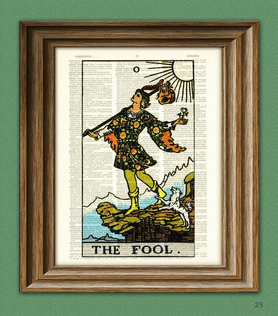 The Fool Major Arcana Tarot Card print over an upcycled vintage dictionary page book art