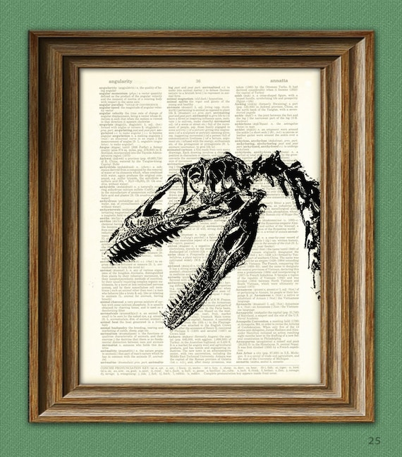 EEEK Velociraptor dinosaur skeleton skull beautifully upcycled history animal dictionary page book art print