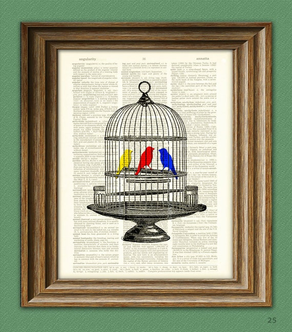 Colorful Birds in Vintage birdcage beautifully upcycled dictionary page book art print