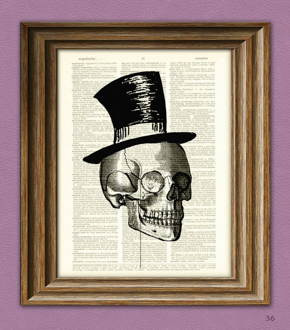 Mr Gentleman Bones SKULL with TOP HAT and Monocle upcycled dictionary page book art print
