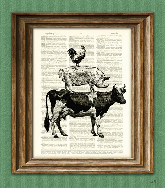 COW, PIG, and ROOSTER stack illustration beautifully upcycled dictionary page book art print