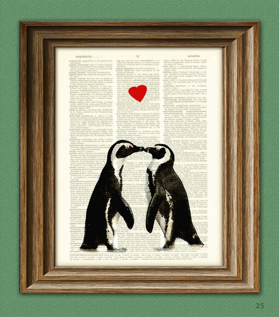 Penguin Art Print Romantic PENGUIN COUPLE in love with heart altered art dictionary page illustration book print