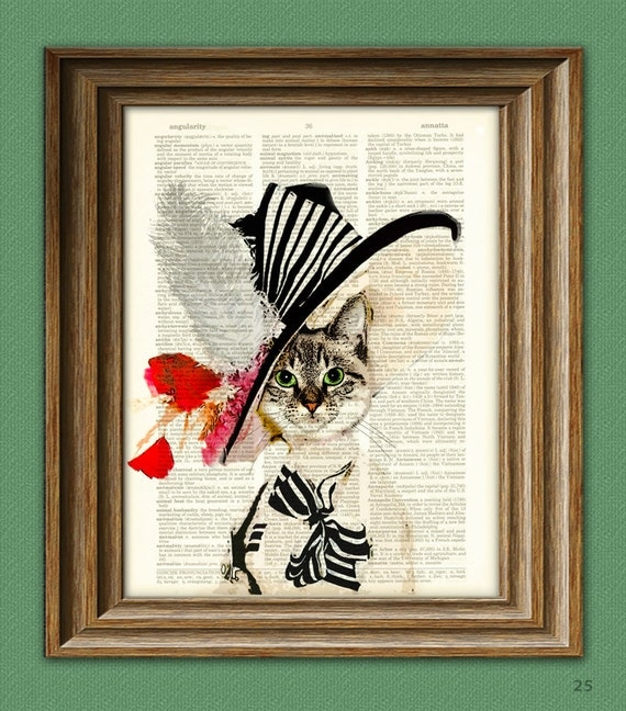 Audrey Hepburn My Fair Kitty Cat illustration beautifully upcycled dictionary page book art print Cat art print