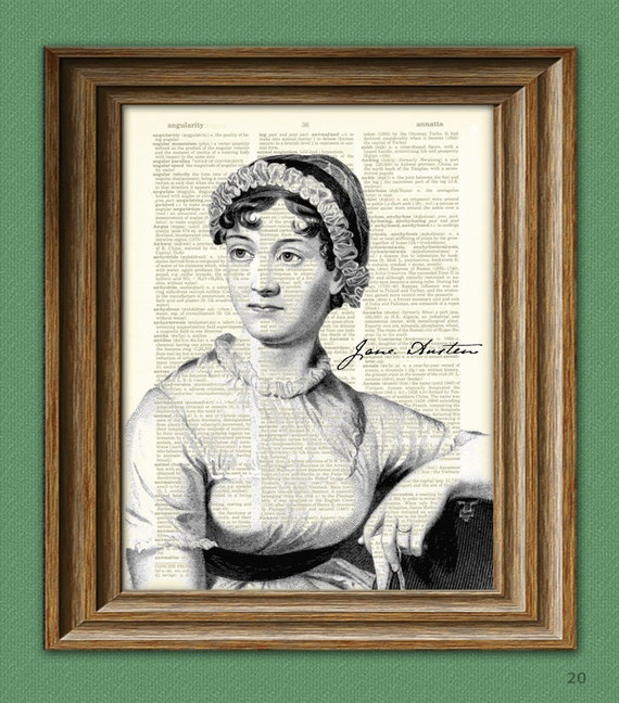 Jane Austen Print Cool writer illustration upcycled dictionary page book art print