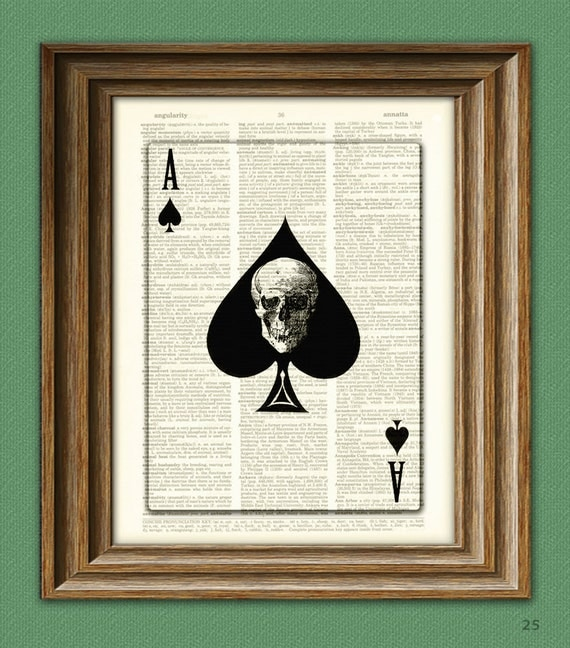 Ace of Spades Playing Card with Skull print over an upcycled vintage dictionary page book art