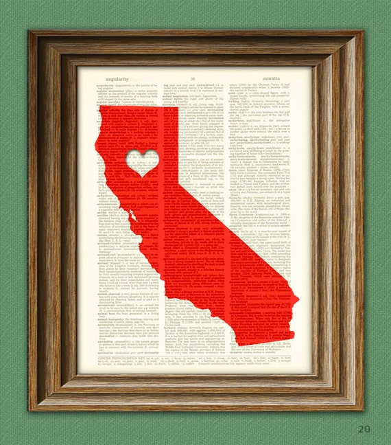 My Heart is in California state map awesome upcycled vintage dictionary page book art print