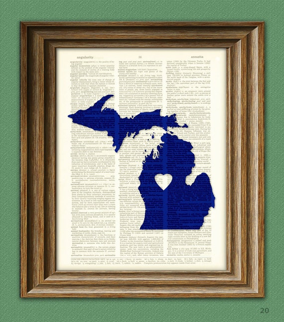 My Heart is in Michigan state map awesome upcycled vintage dictionary page book art print