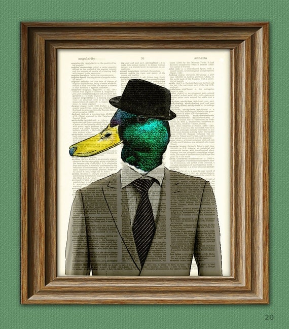 Duck Art Print Duck Draper Mallard Duck in a suit and fedora illustration beautifully upcycled dictionary page book art print