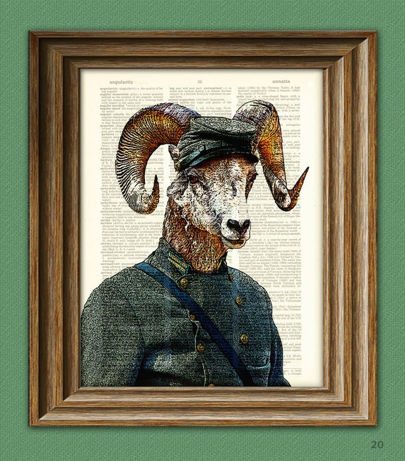 Civil War Soldier Bighorn Sheep Ram  illustration beautifully upcycled dictionary page book art print