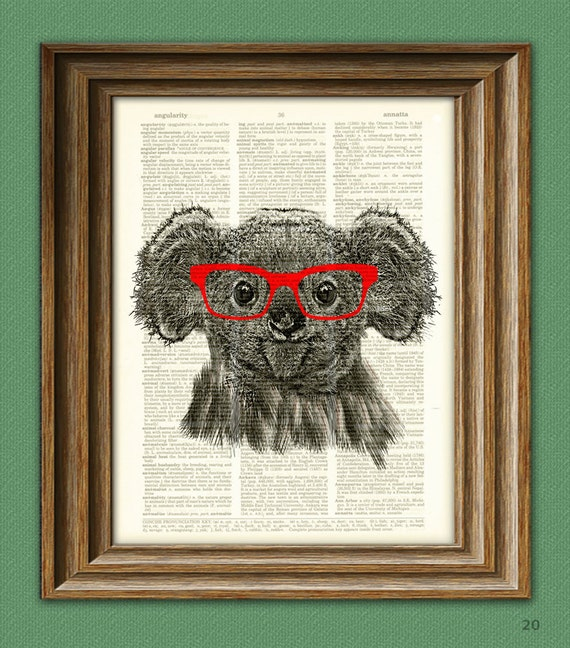 koala bear with glasses art print