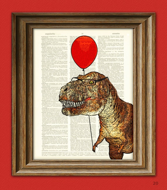 "T-Rex with Balloon ""Little Tony's First Carnival"" Dinosaur art print beautifully upcycled dictionary page book art print"