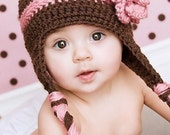 Brown and Pink Earflap Beanie with Large Crochet Flower