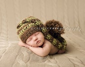 Elf Hat Photo Prop in Earth Brown and Green Apple Stripes