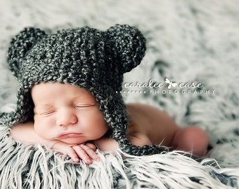 Charcoal Grey Teddy Bear Beanie Photo Prop