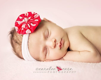 Red Polka Dot Fabric Accessory with Nylon Headband