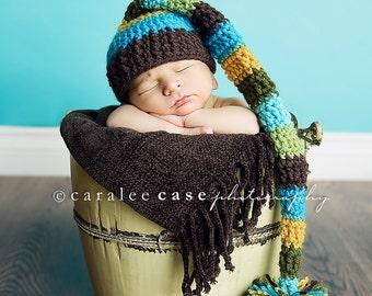 Baby Boy Striped Elf Hat