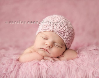 Baby Flapper Beanie in Soft Pale Pink