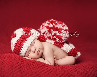 Elf Hat Photo Prop in Red and White Stripes, Christmas Elf Hat, Valentines Elf Hat