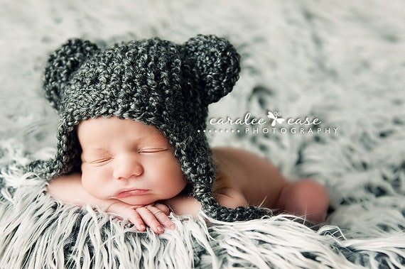 Charcoal Grey Teddy Bear Beanie Photo Prop