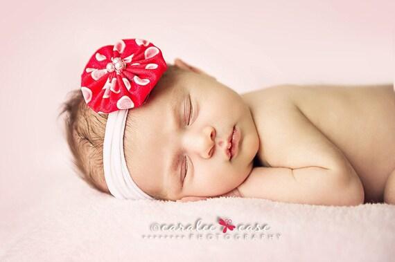 Red Polka Dot Fabric Accessory with Nylon Headband