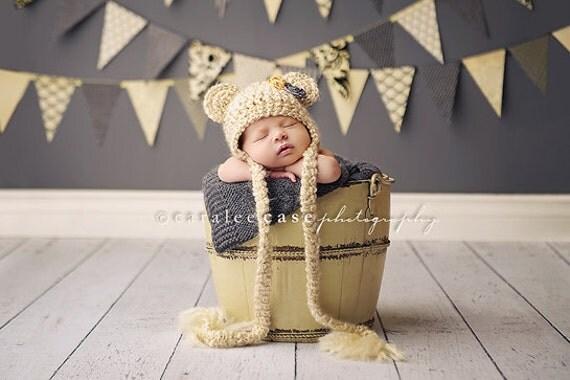 Cream Teddy Bear Beanie Photo Prop