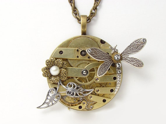 Steampunk Necklace silver dragonfly gold antique Victorian key watch movement gears crystal pearl brass flower leaf Steampunk Nation 1265