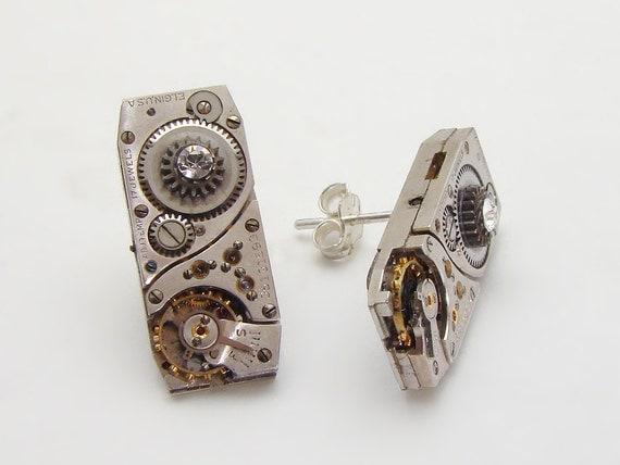 Steampunk Earrings vintage Elgin watch movements ruby jewels gears Sterling Silver posts Swarovski crystal jewelry by Steampunk Nation 1437
