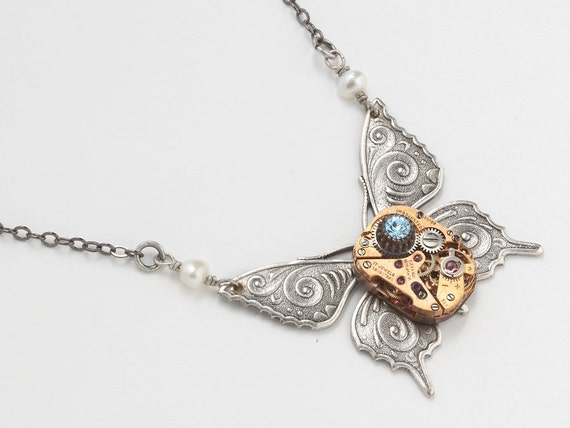 Steampunk Necklace antique pink rose gold watch movement gears silver butterfly pearl blue crystal vintage pendant by Steampunk Nation 1525