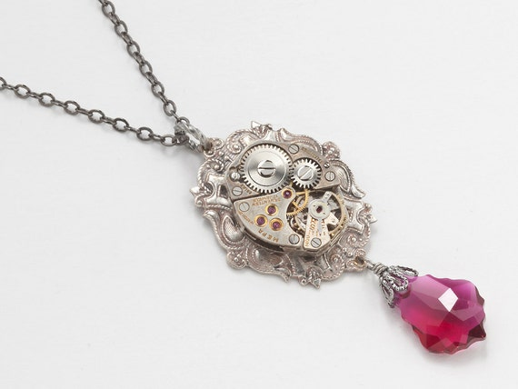 Steampunk Necklace silver antique watch movement ruby red Swarovski crystal Neo Victorian vintage pendant jewelry by Steampunk Nation 1521