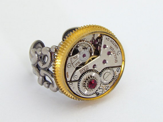 Steampunk Ring vintage watch movement gold gear garnet red crystal Neo Victorian clock work jewelry silver filigree by Steampunk Nation 1650