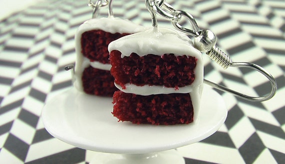 Rich and Cocoa-y Red Velvet Cake Earrings