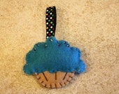 Blue Cupcake with seed beads keychain
