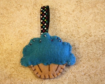 Blue Cupcake with seed beads keychain