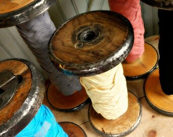 Rustic Vintage EXtra LargeWooden Textile Mill Spool - Large - Organize Ribbons and Trims with Wood Bobbin Storage