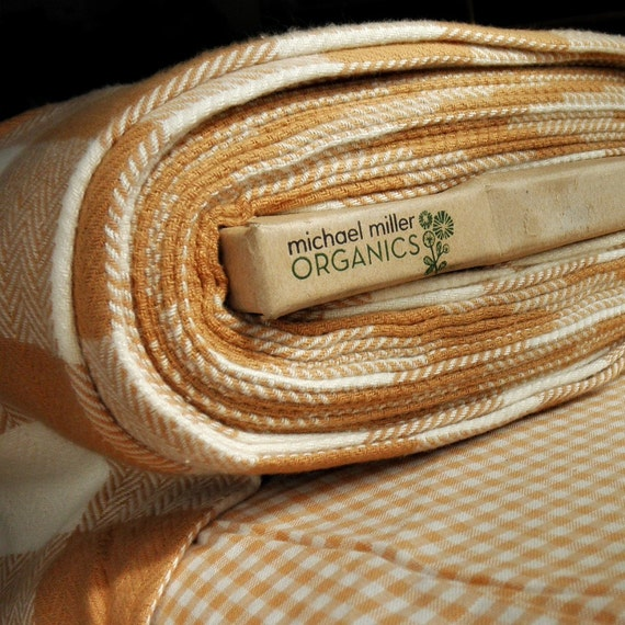 Flannel Weave Organic Cotton Herringbone Check - Half Yard - Flannel Brown Ivory by Michael Miller Fabrics