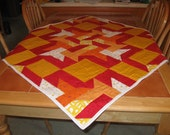 SALE - Red, Yellow, Orange Birds on My Quilt - Picnic Cloth, Lap Quilt