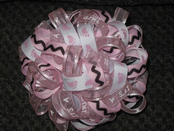 Baby Shower Decoration - It's a Girl Pink Ribbon Ornament