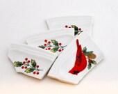 Mosaic Tiles - Broken Plates - Cardinal - Holly Berry - Holiday - Broken China Plate - Focal - Set of 4