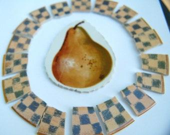 Broken China Mosaic Tile -  Golden Pear Focal - Tile Set with Checker Trim