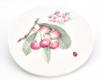 Broken Plate Mosaic Tile - Delicious Fruit - Blossom and Lady Bug